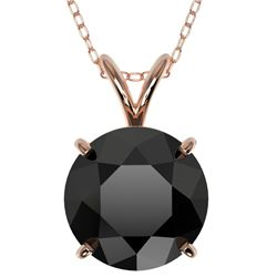 2.58 CTW Fancy Black Genuine Diamond Bridal Solitaire Necklace 10K Rose Gold - 36822-REF#57Z8T