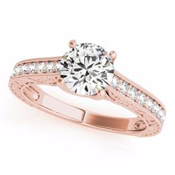 1.32 CTW Certified Fancy Blue Genuine Diamond Solitaire Bridal Ring 10K Rose Gold - 34949-REF#102Y5X