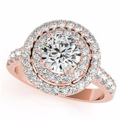 3 CTW Certified Fancy Intense Genuine Diamond Solitaire Halo Ring 10K Rose Gold - 34228-REF#238M2G