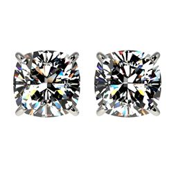 2 CTW Certified Quality Cushion Cut Genuine Diamond Stud Earrings 10K White Gold - 33097-REF#481X9Y