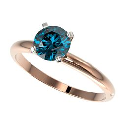 1 CTW Certified Intense Blue Genuine Diamond Solitaire Engagement Ring 10K Rose Gold - 32891-REF#80N