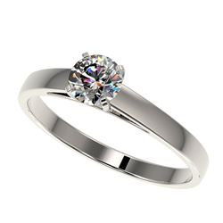 0.50 CTW Certified H-I Quality Genuine Diamond Solitaire Engagement Ring 10K White Gold - 32952-REF#