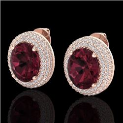 9 CTW Garnet & Micro Pave Diamond Certified Earrings 14K Rose Gold - 20225-REF#99Z5T