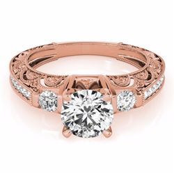 1.63 CTW Certified Black Genuine Diamond Solitaire Antique Ring 10K Rose Gold - 34652-REF#68Z5T