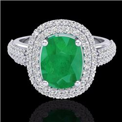 3.50 CTW Emerald & Micro Pave Diamond Certified Halo Ring 18K White Gold - 20717-REF#105W5H