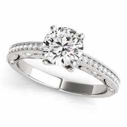1.25 CTW Certified Fancy Intense Genuine Diamond Solitaire Antique Ring 10K White Gold - 34745-REF#1