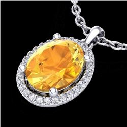 2.50 CTW Citrine & Micro Pave Diamond Certified Necklace Halo 18K White Gold - 21076-REF#38M8G