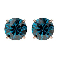 2 CTW Certified Intense Blue Genuine Diamond Solitaire Stud Earrings 10K Rose Gold - 33087-REF#145T5