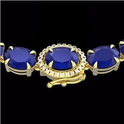 92 CTW Sapphire & Diamond Tennis Micro Pave Halo Necklace 14K Yellow Gold - 23461-REF#254V5A