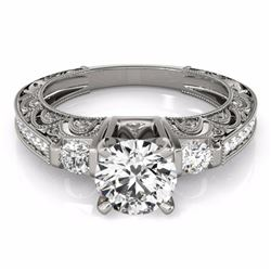 1.63 CTW Certified G-I Genuine Diamond Solitaire Bridal Antique Ring 10K White Gold - 34648-REF#141R