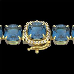 35 CTW London Blue Topaz & Micro Diamond Halo Bracelet 14K Yellow Gold - 23332-REF#130R2K