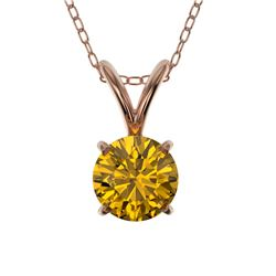 0.50 CTW Certified Intense Yellow Genuine Diamond Solitaire Necklace 10K Rose Gold - 33162-REF#35W2H