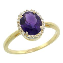 Natural 1.22 ctw Amethyst & Diamond Engagement Ring 14K Yellow Gold - SC#CY401101 - REF#23V5T