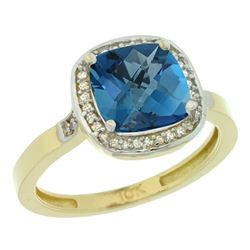 Natural 3.94 ctw London-blue-topaz & Diamond Engagement Ring 14K Yellow Gold - SC#CY405151 - REF#33H