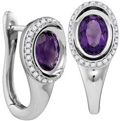 0.75 CTW Amethyst & Diamond Earrings 14KT White Gold - GD104977-REF#106V2A