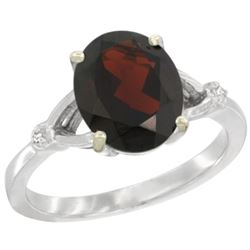 Natural 2.41 ctw Garnet & Diamond Engagement Ring 14K White Gold - SC#CW410112 - REF#32W3A
