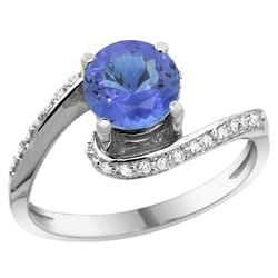 Natural 1.08 ctw tanzanite & Diamond Engagement Ring 14K White Gold - SC#D312723W48 - REF#52N3Y
