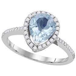 1.46 CTW Aquamarine & Diamond Ladies Ring 14KT White Gold - GD104933-REF#90W2G