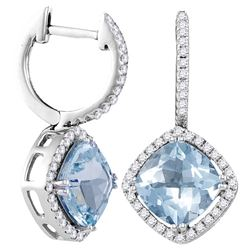 2.1 CTW Aquamarine & Diamond Earrings 14KT White Gold - GD104944-REF#185T3K