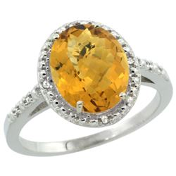 Natural 2.42 ctw Whisky-quartz & Diamond Engagement Ring 10K White Gold - SC#CW926111 - REF#21K4M