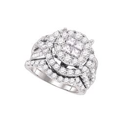 3 CTW Diamond Soliel Bridal Set Ring 14KT White Gold - GD69164-REF#323H9W
