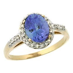Natural 1.43 ctw Tanzanite & Diamond Engagement Ring 10K Yellow Gold - SC#CY948137 - REF#42M2P