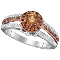 1 CTW White & Cognac Diamond Ladies Ring 10KT Two-tone Gold - GD110135-REF#125Z9T