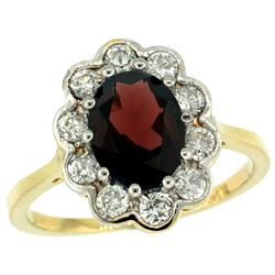 Natural 2.34 ctw Garnet & Diamond Engagement Ring 14K Yellow Gold - SC#C319661Y10 - REF#71A5X