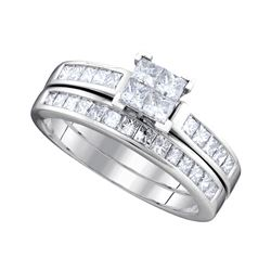 1 CTW Diamond Bridal Set Ring 14KT White Gold - GD70263-REF#143H8W