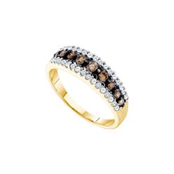 0.5 CTW White & Cognac Diamond Ladies Ring 14KT Yellow Gold - GD68096-REF#36Z2T