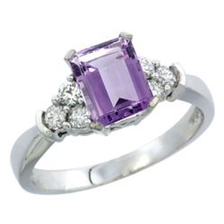 Natural 1.48 ctw amethyst & Diamond Engagement Ring 14K White Gold - SC#CW401169 - REF#45M5P