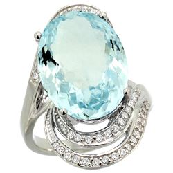 Natural 11.2 ctw aquamarine & Diamond Engagement Ring 14K White Gold - SC#R309951W12 - REF#158N7Y