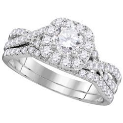 1.37 CTW Diamond Bridal Set Ring 14KT White Gold - GD106393-REF#179V9A