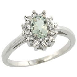 Natural 0.67 ctw Green-amethyst & Diamond Engagement Ring 14K White Gold - SC#CW402103 - REF#42Y3K
