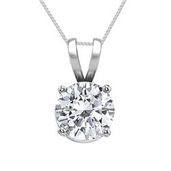 14K White Gold Jewelry 0.75 ct Natural Diamond Solitaire Necklace - WJA1092  - REF#165X6Y