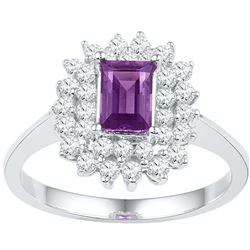 1.37 CTW Amethyst & Diamond Ladies Ring 10KT White Gold - GD100463-REF#62X9Y
