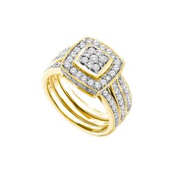 1 CTW Diamond Bridal Set Ring 14KT Yellow Gold - GD52595-REF#152Z8T