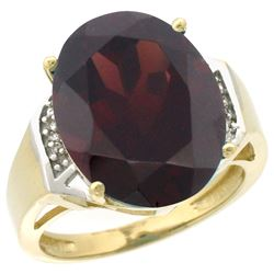 Natural 11.02 ctw Garnet & Diamond Engagement Ring 10K Yellow Gold - SC#CY910131 - REF#56A6X