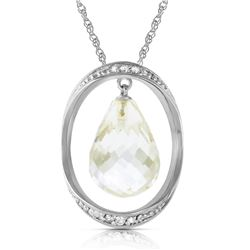 Genuine 11.6 ctw White Topaz & Diamond Necklace Jewelry 14KT White Gold - GG#5527 - REF#112P2H