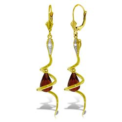 Genuine 4.56 ctw Garnet & Diamond Earrings Jewelry 14KT Yellow Gold - GG#5548 - REF#91K4V