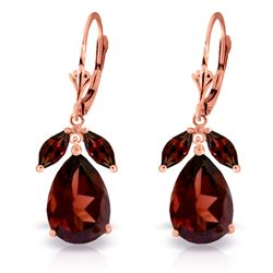 Genuine 13 ctw Garnet Earrings Jewelry 14KT Rose Gold - GG#2006 - REF#71H8X