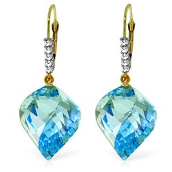 Genuine 28 ctw Blue Topaz & Diamond Earrings Jewelry 14KT Yellow Gold - GG#4673 - REF#87A7K