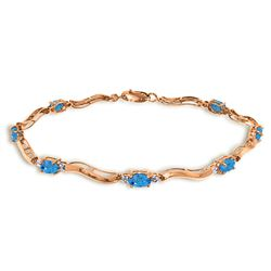 Genuine 2.16 ctw Blue Topaz & Diamond Bracelet Jewelry 14KT Rose Gold - GG#1505 - REF#76A7K