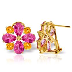 Genuine 4.85 ctw Pink Topaz & Citrine Earrings Jewelry 14KT Yellow Gold - GG#2151 - REF#59F5Z