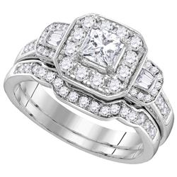 1.18 CTW Diamond Bridal Set Ring 14KT White Gold - GD106272-REF#152T8K