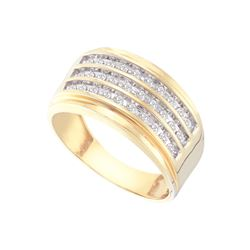 0.5 CTW Diamond Men's Ring 10KT Yellow Gold - GD58534-REF#59Y4Z