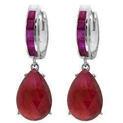 Genuine 11.3 ctw Ruby Earrings Jewelry 14KT White Gold - GG#4297 - REF#118N8R
