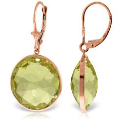 Genuine 34 ctw Quartz Lemon Earrings Jewelry 14KT Rose Gold - GG#5239 - REF#58N2R