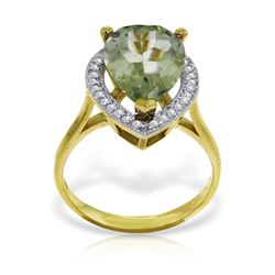 Genuine 3.41 ctw Green Amethyst & Diamond Ring Jewelry 14KT Yellow Gold - GG#4888 - REF#75K4V