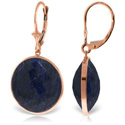 Genuine 46 ctw Sapphire Earrings Jewelry 14KT Rose Gold - GG#5233 - REF#62Y3F